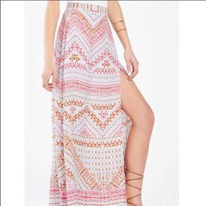 BCBG Aviva Geometric Print Wrap Maxi Skirt, XSmall